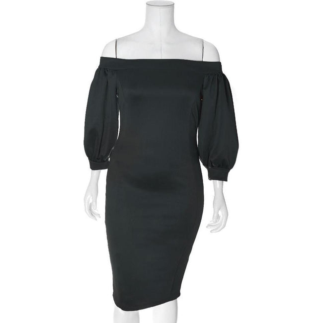 Posh Shoppe: Plus Size Bardot Puff Sleeve Dress, Sateen Black Dress