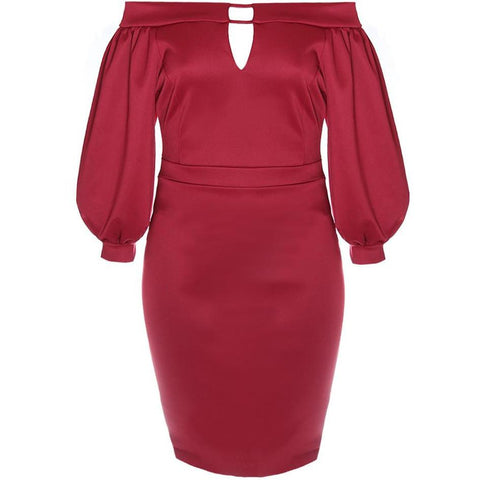 Plus Size Bardot Juliet Dress, Burgundy