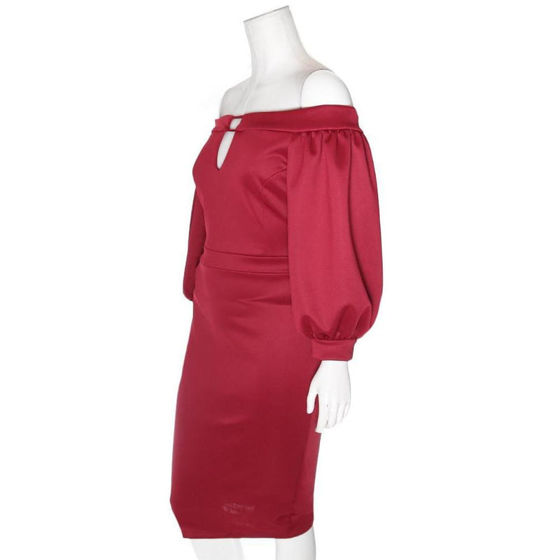 Posh Shoppe: Plus Size Bardot Juliet Dress, Burgundy Dress