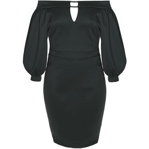 Plus Size Bardot Juliet Dress, Black