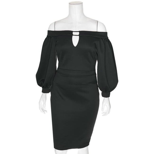 Posh Shoppe: Plus Size Bardot Juliet Dress, Black Dress