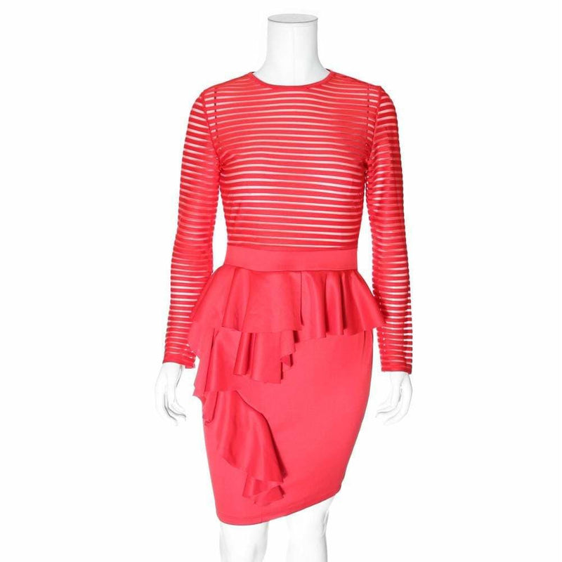 Posh Shoppe: Plus Size Cascade Dress with Sheer Stripe Top, Red Dress