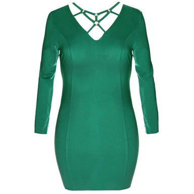 Posh Shoppe: Plus Size Gold Hardware Criss Cross Mini Dress, Emerald Dress