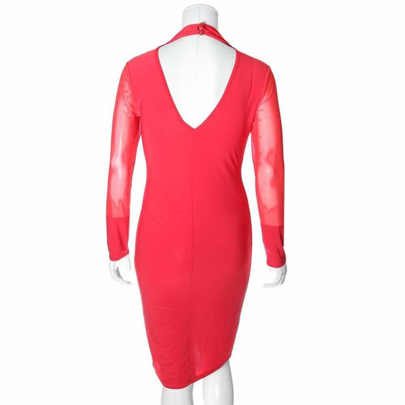 Posh Shoppe: Plus Size Choker Neck Dress with Sheer Sleeves, Red Dress