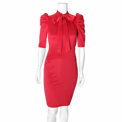 Plus Size Blouse Neck Suiting Dress, Red