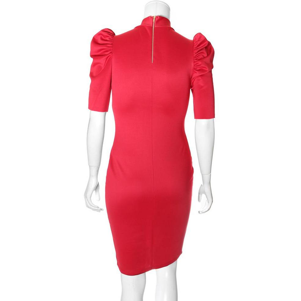 Posh Shoppe: Plus Size Blouse Neck Suiting Dress, Red Dress