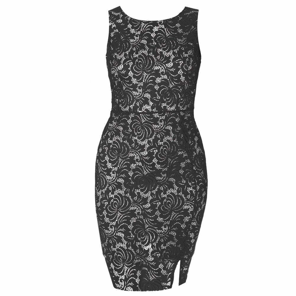 Posh Shoppe: Plus Size Sleeveless Lace Shift Dress, Black Dress