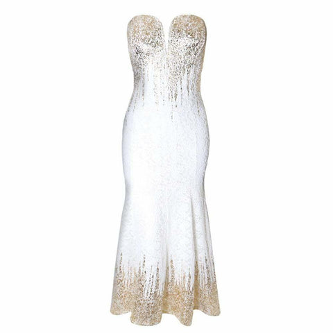 Plus Size Strapless Sweetheart Lace Gown, Gold and White