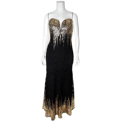 Plus Size Strapless Sweetheart Lace Gown, Gold and Black