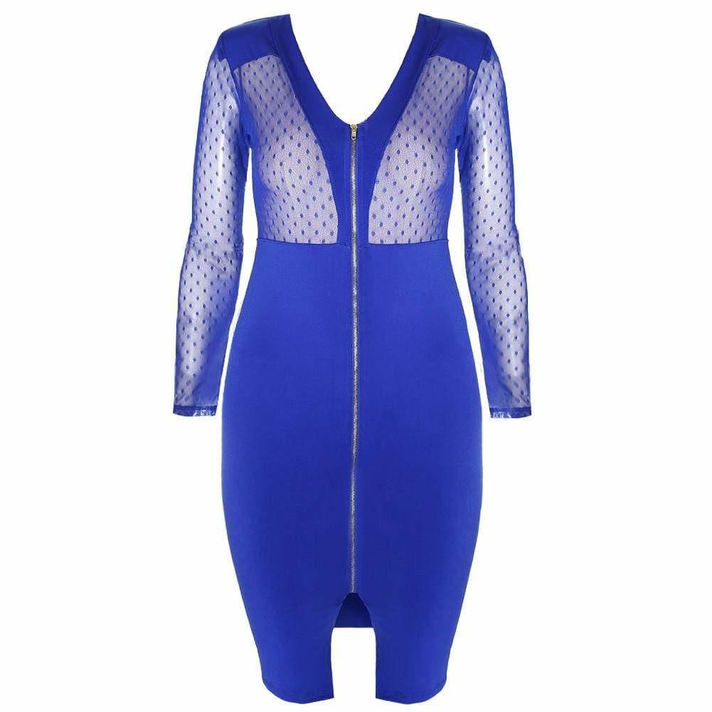 80748c2384ad Posh Shoppe: Plus Size Sheer Mesh Top Zip Front Dress, Cobalt Dress ...