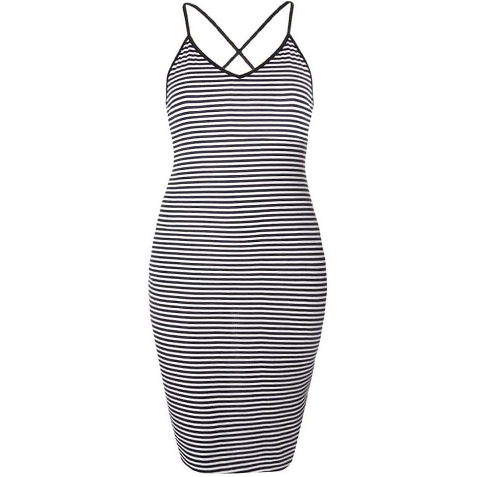 Cross Back Ribbed Stripe Dress