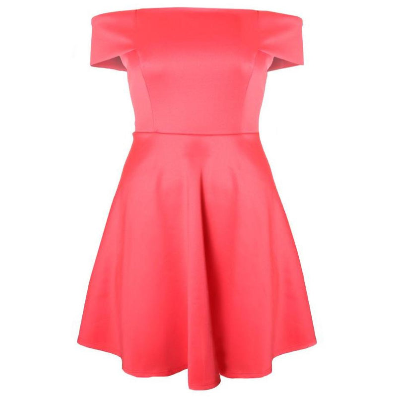 Posh Shoppe: Plus Size Off Shoulder Swing Dress, Bright Coral Dress