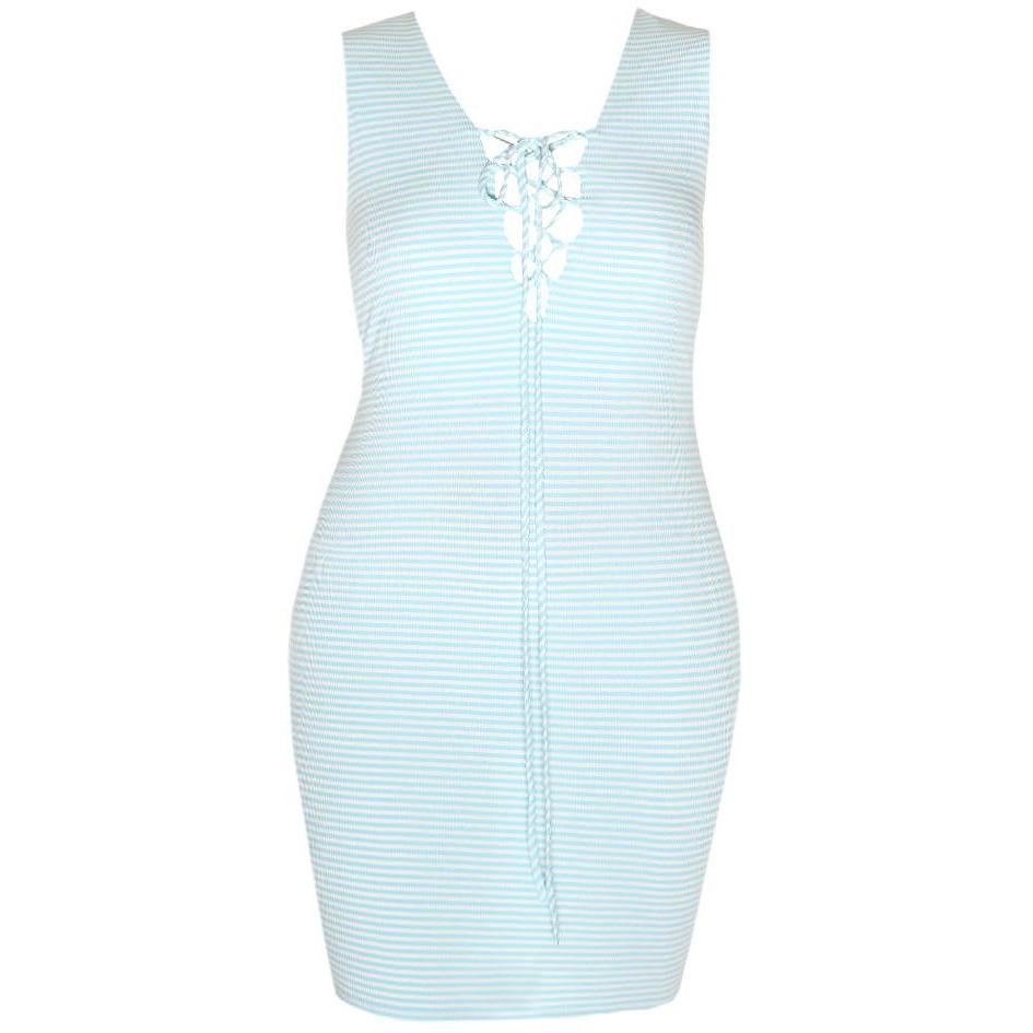 Posh Shoppe: Plus Size Ribbed Lace Up Tank Dress, Baby Blue Dress