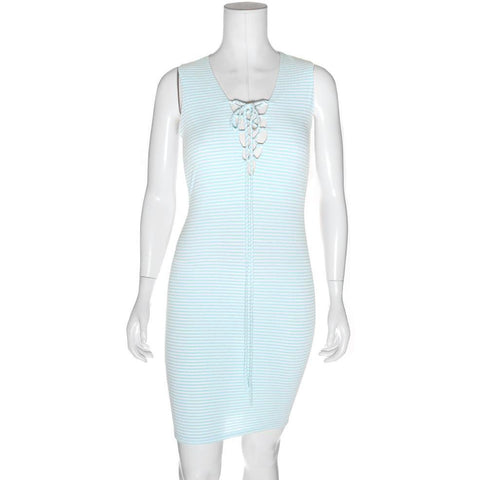Plus Size Ribbed Lace Up Tank Dress, Baby Blue