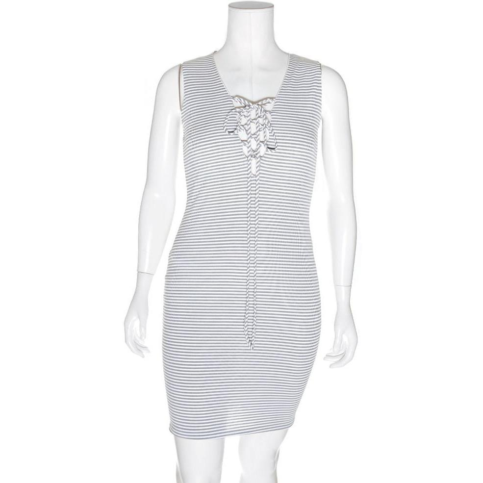 Posh Shoppe: Plus Size Ribbed Lace Up Tank Dress, Gray Dress