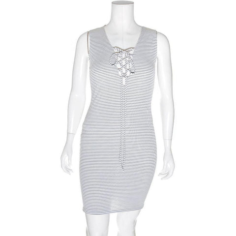 Plus Size Ribbed Lace Up Tank Dress, Gray