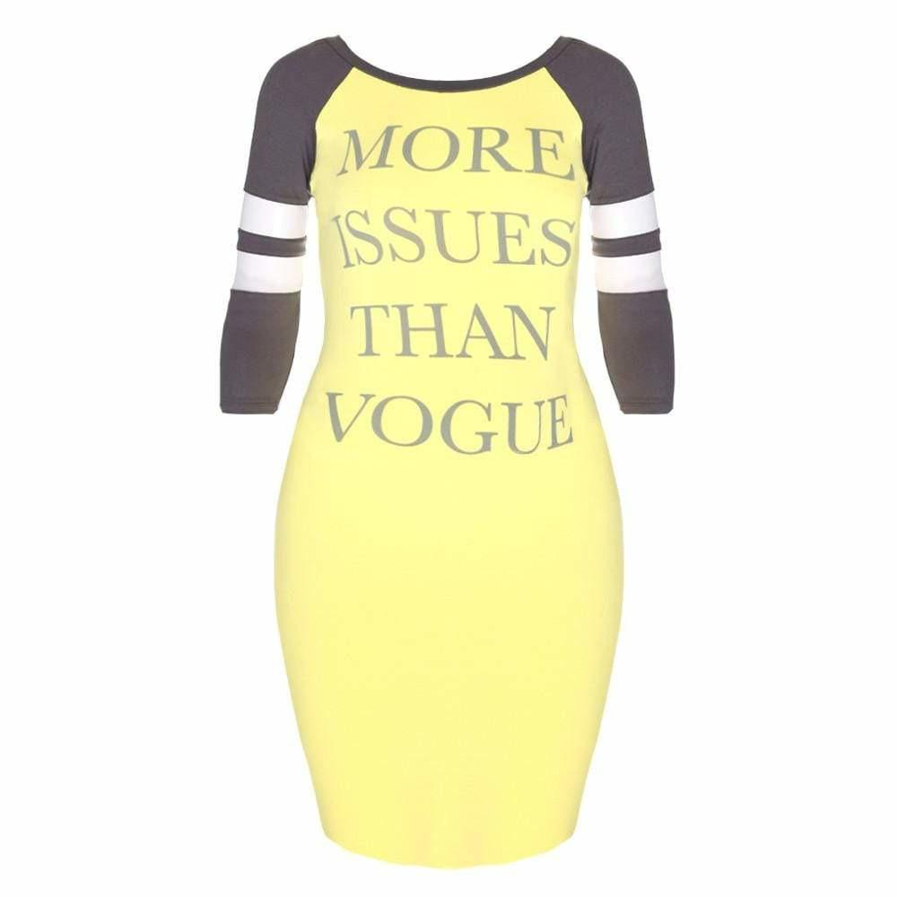 Plus Size Raglan Dress with Mesh Insert Sleeves, Yellow and Gray