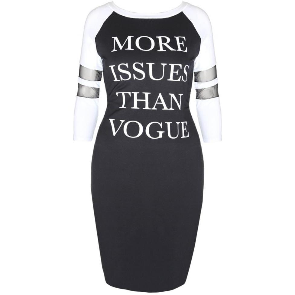 Plus Size Raglan Dress with Mesh Insert Sleeves, Black and White