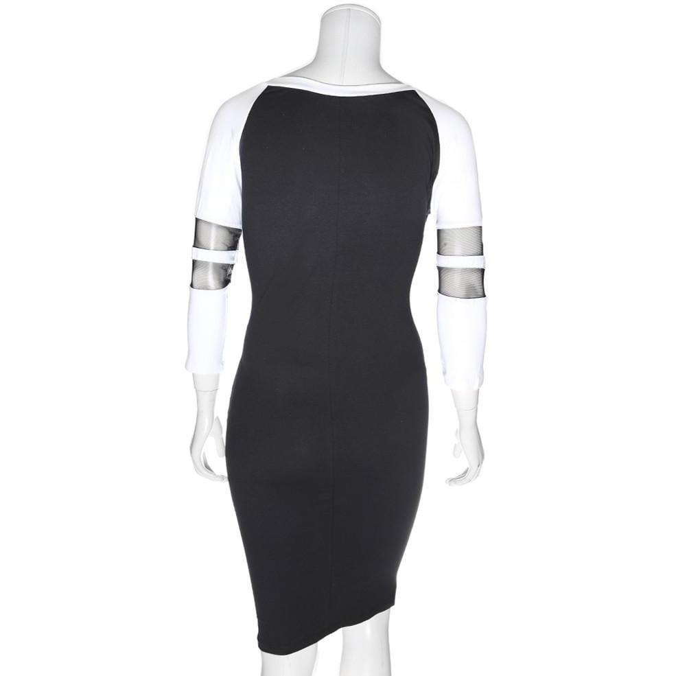 Posh Shoppe: Plus Size Raglan Dress with Mesh Insert Sleeves, Black and White Dress