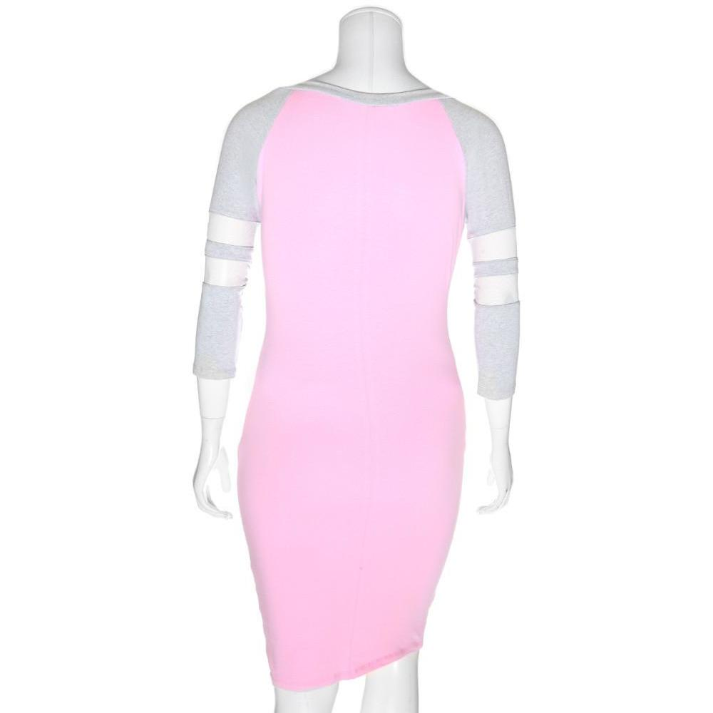 Posh Shoppe: Plus Size Raglan Dress with Mesh Insert Sleeves, Pink and Gray Dress