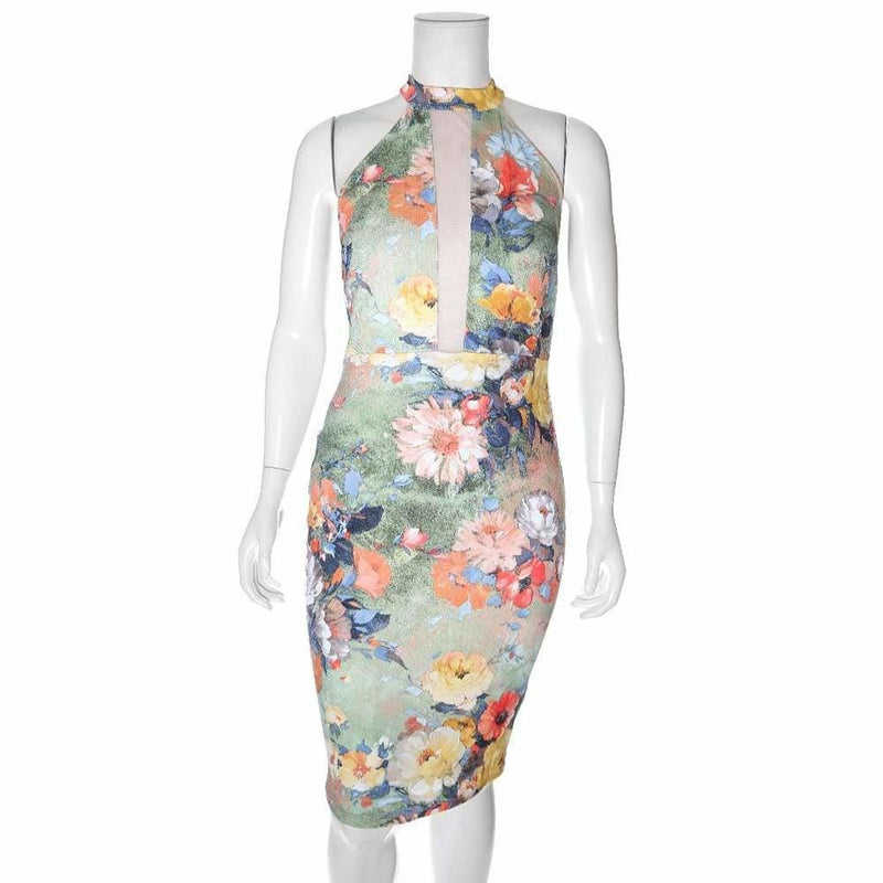 Posh Shoppe: Plus Size Sheer Insert Garden Print Pencil Dress Dress