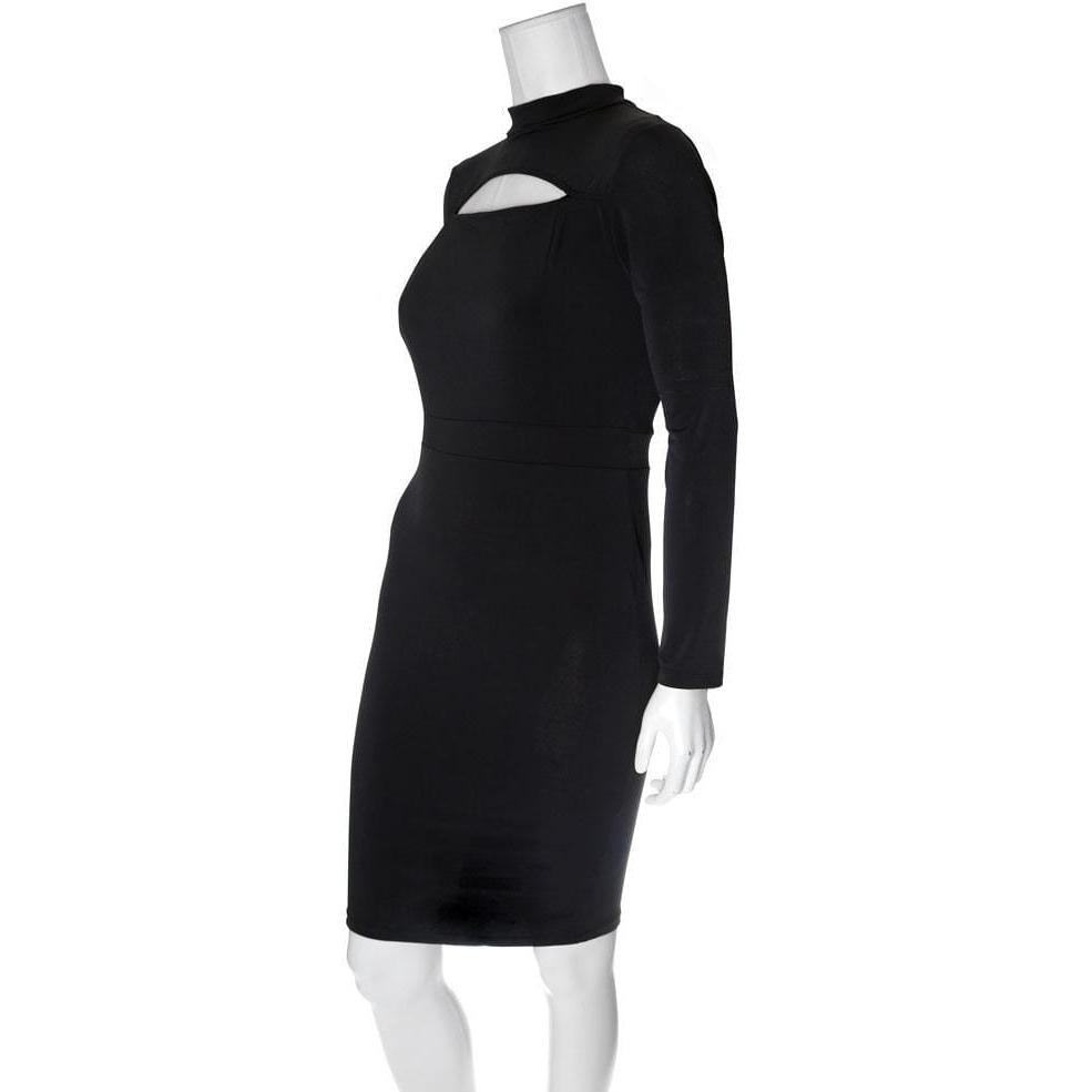 Posh Shoppe: Plus Size Mock Neck Peep Dress, Black Dress