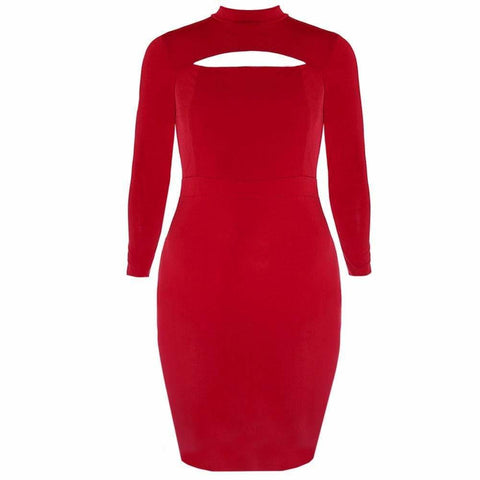 Plus Size Mock Neck Peep Dress, Red