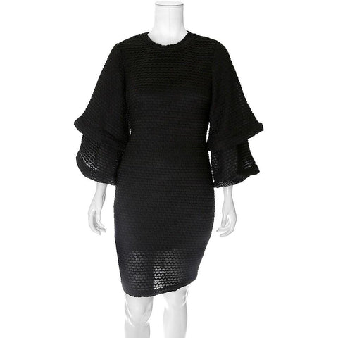 Plus Size Double Bell Sleeve Sweater Dress, Black