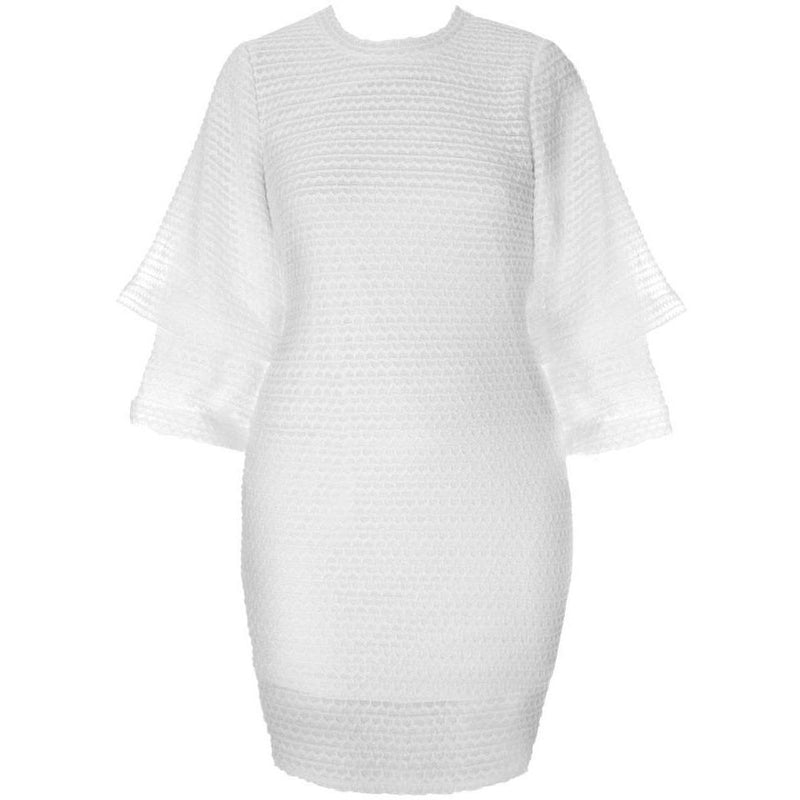 Posh Shoppe: Plus Size Double Bell Sleeve Sweater Dress, Snow Dress