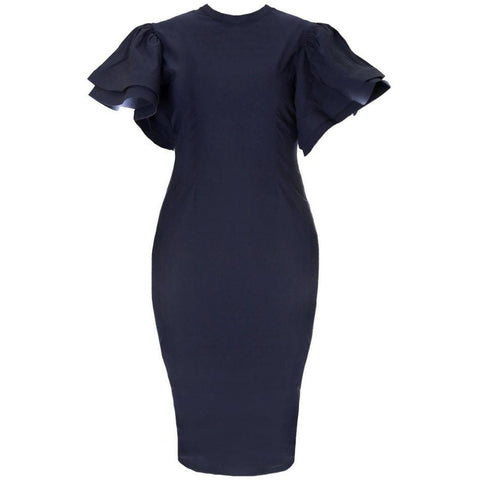 Plus Size Structured Flutter Sleeve Midi Dress, Navy