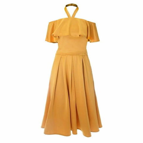 Plus Size 2 Piece Ruffle Halter & Midi Skirt Set, Mustard
