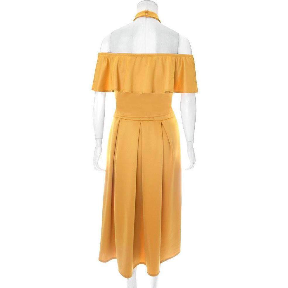 Posh Shoppe: Plus Size 2 Piece Ruffle Halter & Midi Skirt Set, Mustard Dress