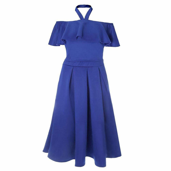 Posh Shoppe: Plus Size 2 Piece Ruffle Halter & Midi Skirt Set, Cobalt Dress