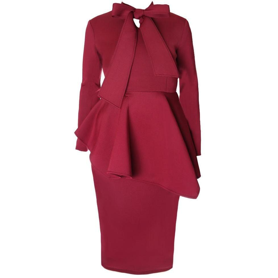 Tie Neck Peplum Winter Dress, Wine