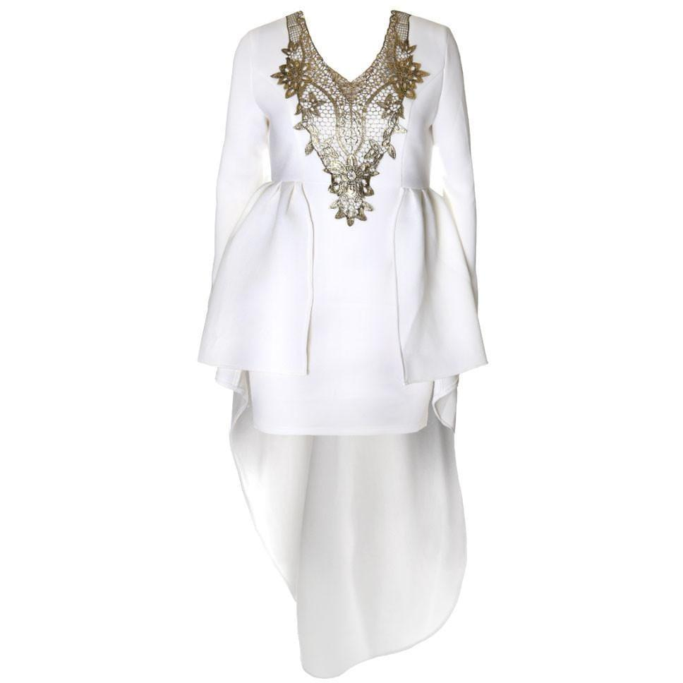 Regal Hi Low Winter Dress, Ivory and Gold