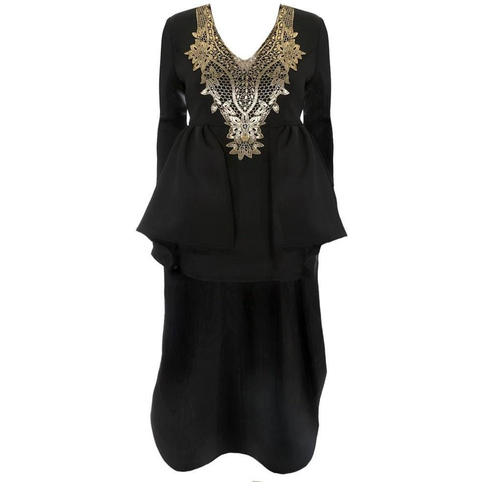 Regal Hi Low Winter Dress, Black and Gold