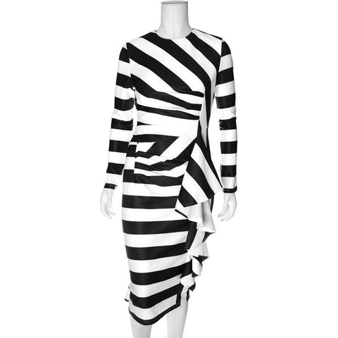 Striped Waterfall Dress