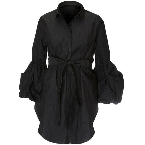 Puff Sleeve Tie Waist Shirt Dress, Black Denim