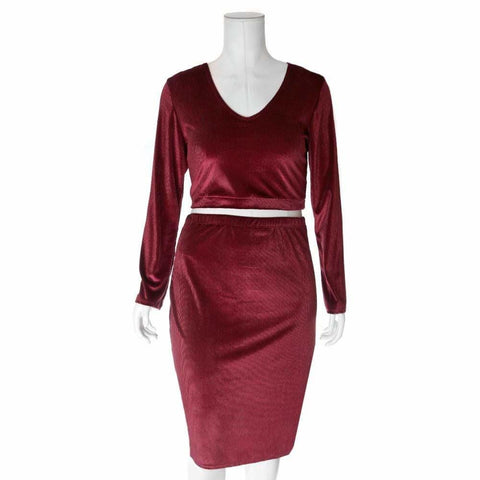 Plus Size Ribbed Velvet Top and Midi, Burgundy