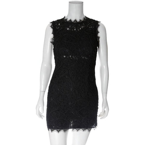 Lace and Rope Mini Dress, Black