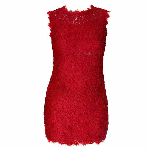 Lace and Rope Mini Dress, Holiday Red