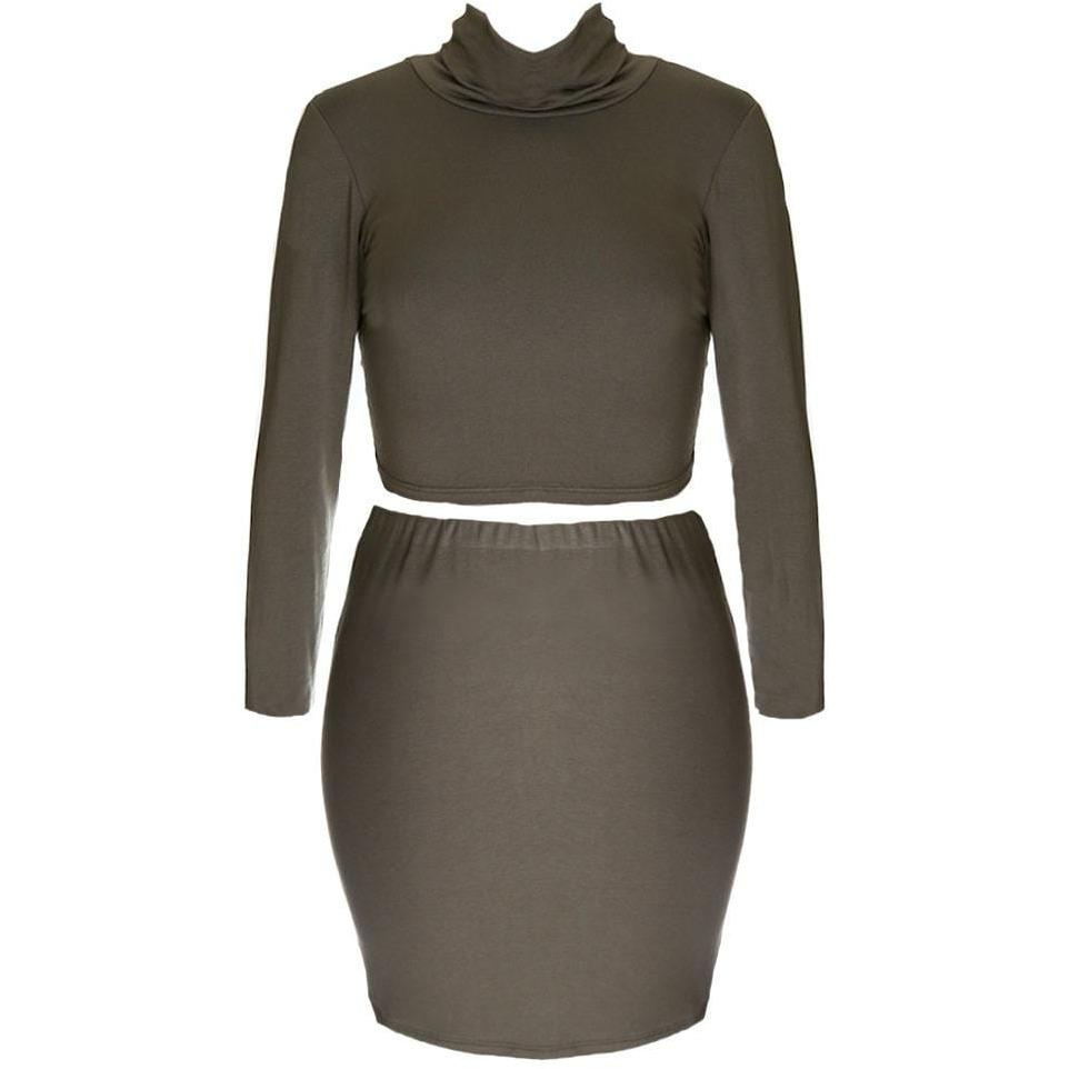 Posh Shoppe: Plus Size 2 Piece Co-Ord Turtleneck Top and Mini, Olive Dress