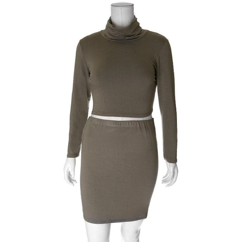 Plus Size 2 Piece Co-Ord Turtleneck Top and Mini, Olive