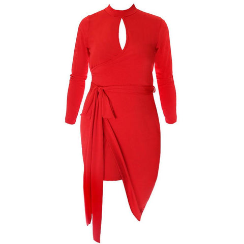 Mock Neck Keyhole Wrap Dress, Red