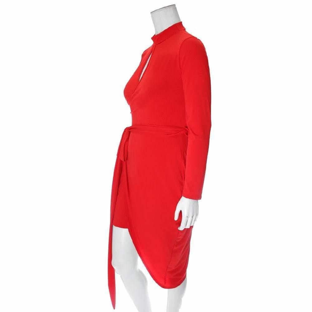 Posh Shoppe: Plus Size Mock Neck Keyhole Wrap Dress, Red Dress