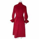 Bell Sleeve Tie Neck A-line Winter Dress, Wine