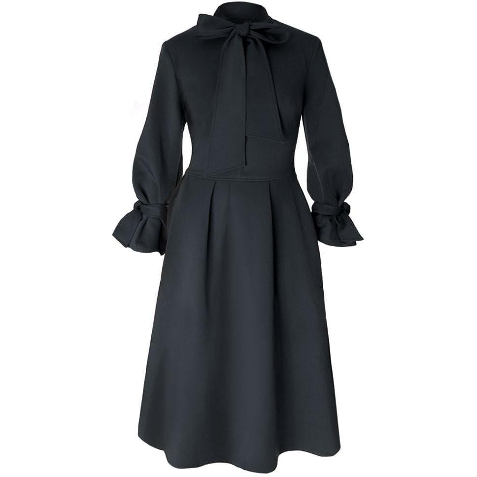 Bell Sleeve Tie Neck A-line Winter Dress, Black