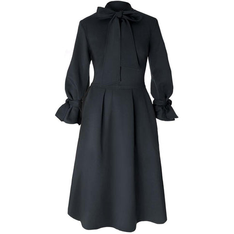 Plus Size Bell Sleeve Tie Neck A-line Winter Dress, Black