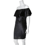 Off Shoulder Ruffle Dress, Black Crush Velvet