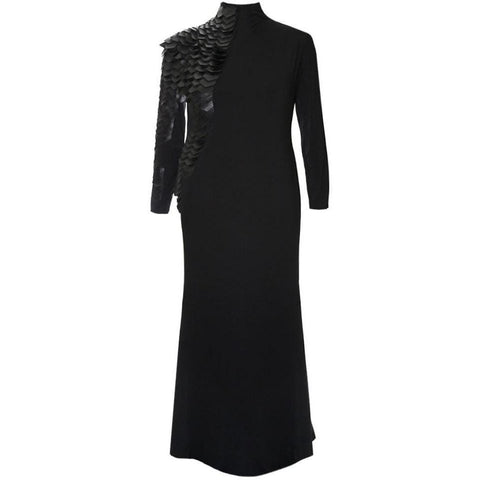 Enchanted Leather and Mesh Embellished Mock Neck Maxi
